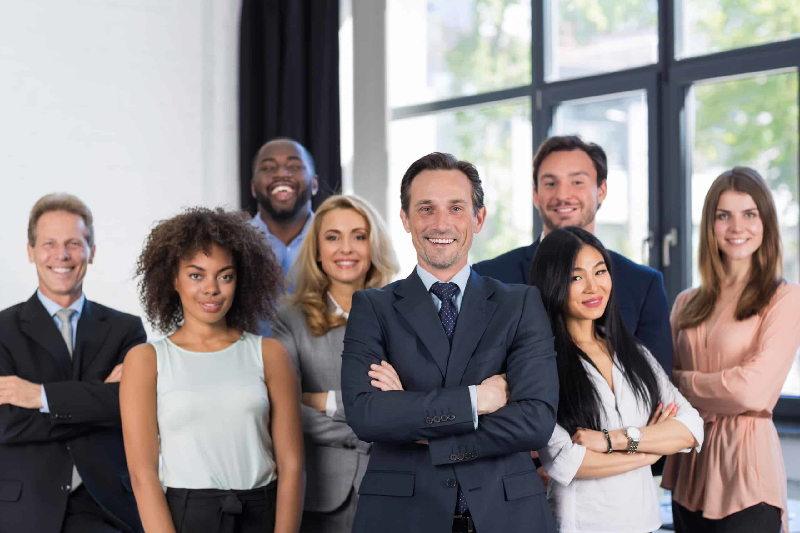 oss And Business People Group With Mature Leader On Foreground In Office, Leadership Concept, Successful Mix Race Team Of Businesspeople Wearing Suits, Professional Staff Happy Smiling